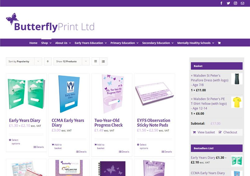 Butterfly Print e-commerce shop page screenshot