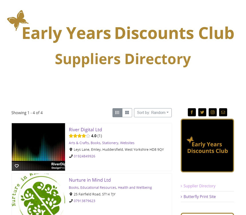 Butterfly Print early years suppliers' directory screenshot