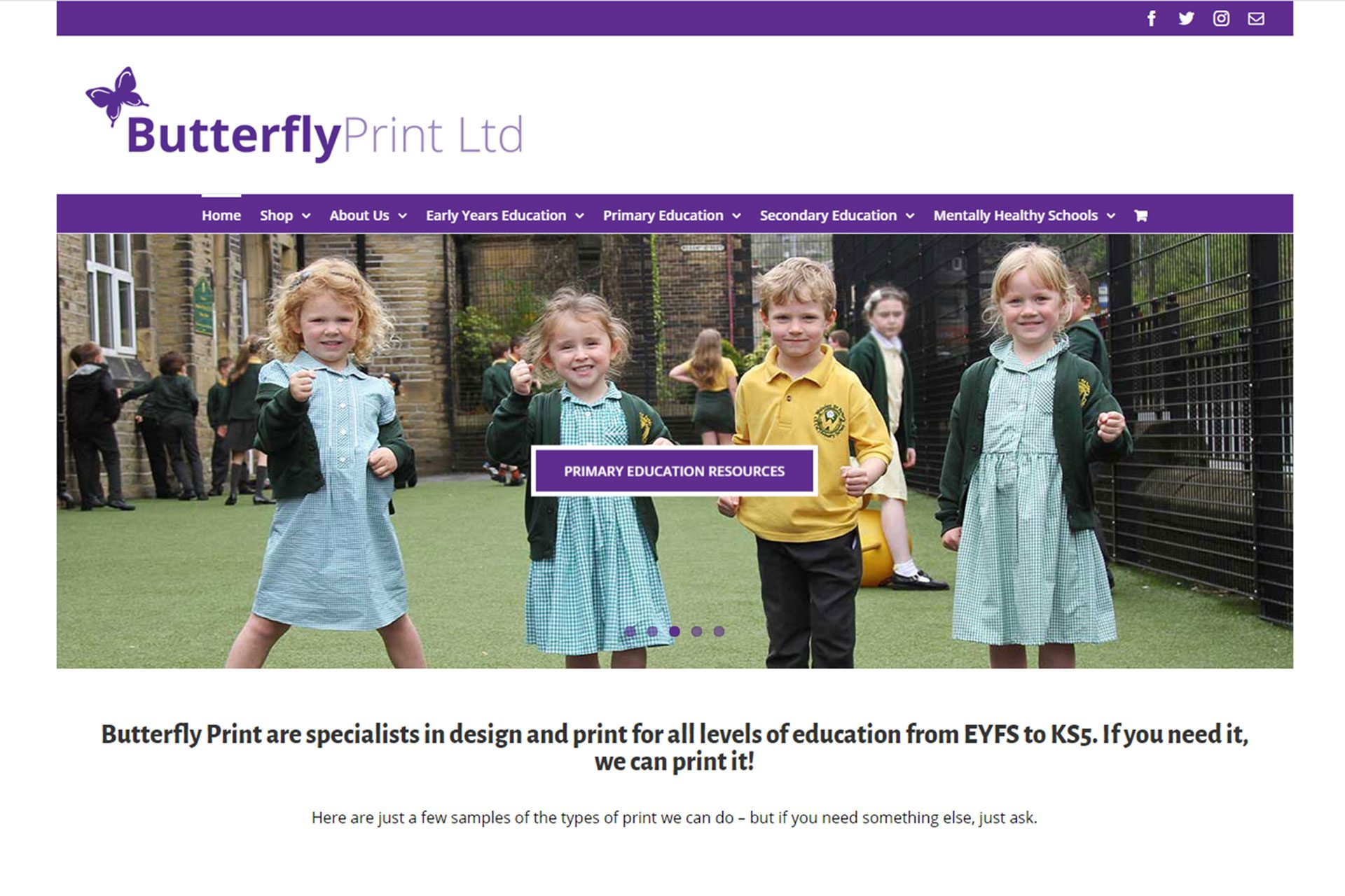 Screenshot of the Butterfly Print home page designed by Picture Engine