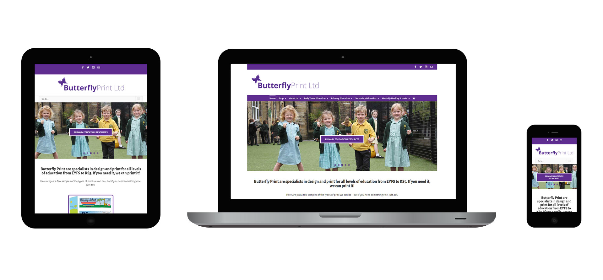 Images of the Butterfly Print responsive website on different devices