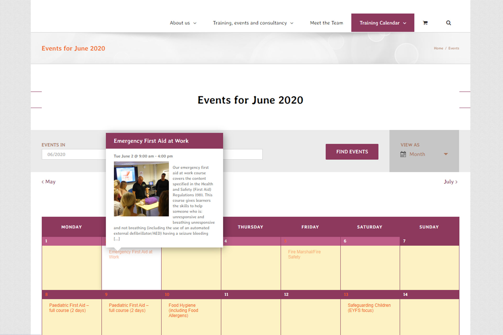 Early Years Hub training course calendar screenshot for June 2020