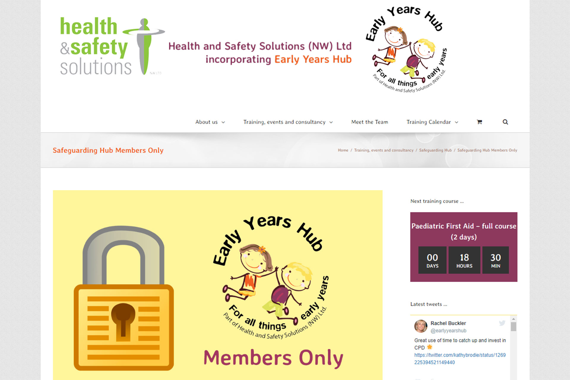 Early Years Hub Safeguarding Hub restricted content for members screenshot