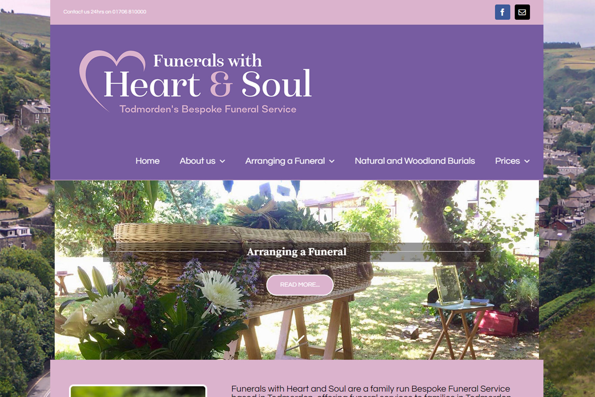 Screenshot of the Funerals with Heart and Soul home page designed by Picture Engine