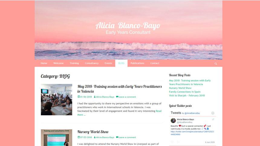 Alicia Blanco-Bayo blog page screenshot