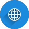 Globe icon representing domain names which function as your website's address on the internet