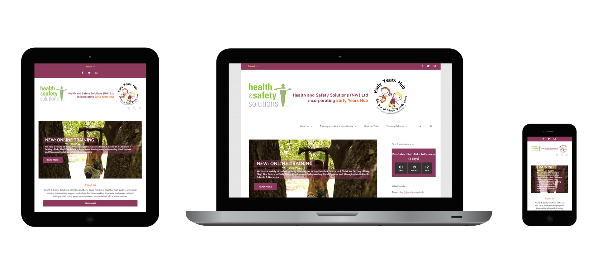 Images of the Early Years Hub responsive website on different devices