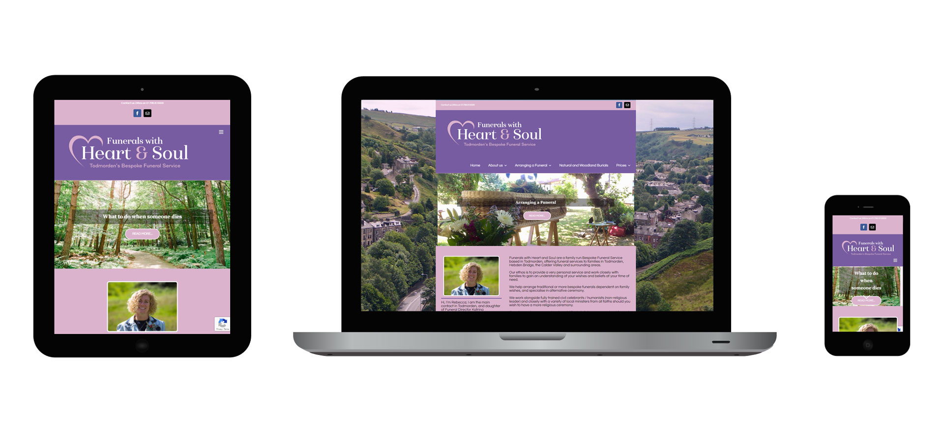Images of the Funerals With Heart and Soul responsive website on different devices