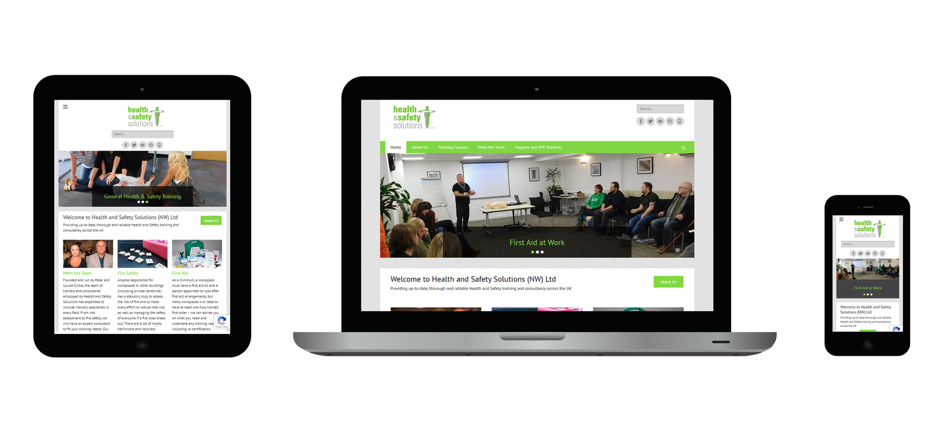 Images of the Health & Safety Solutions responsive website on different devices