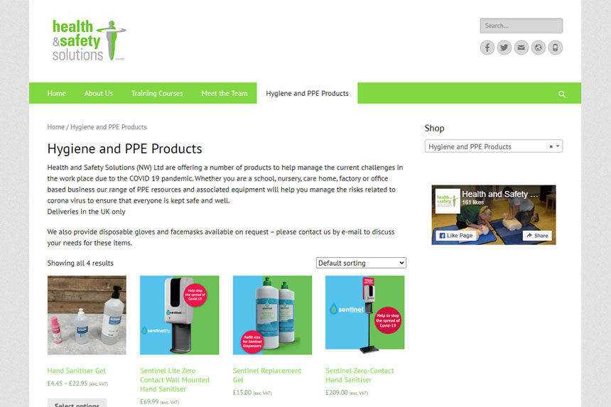 Health and Safety Solutions Hygiene and PPE online shop screenshot