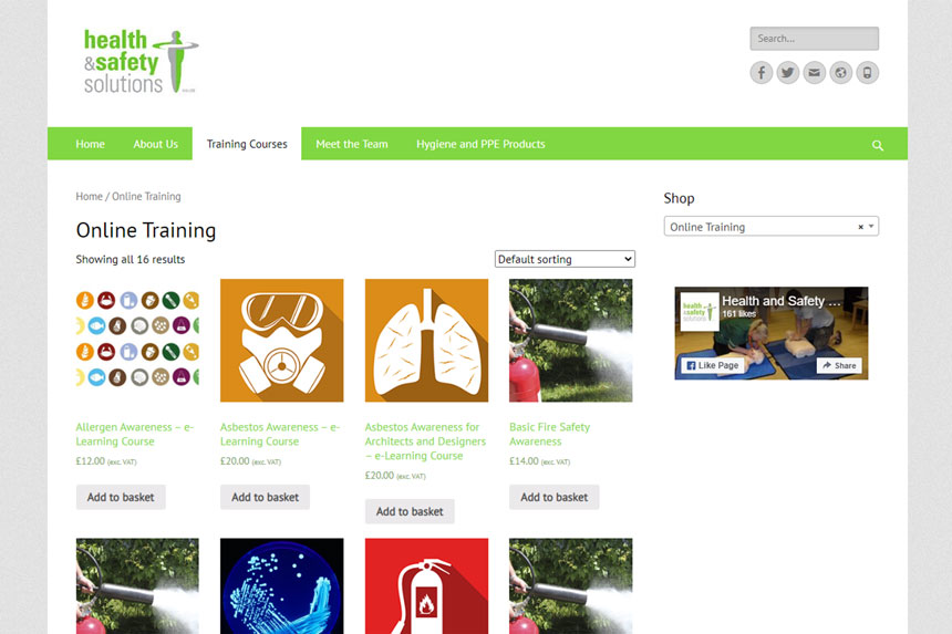 Health and Safety Solutions online courses page screenshot