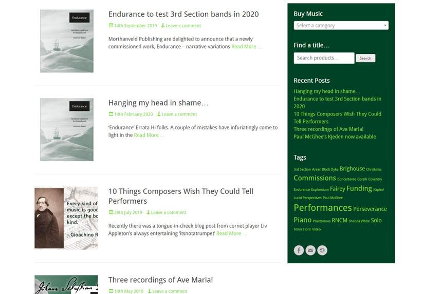 Morthanveld Publishing blog posts screenshot