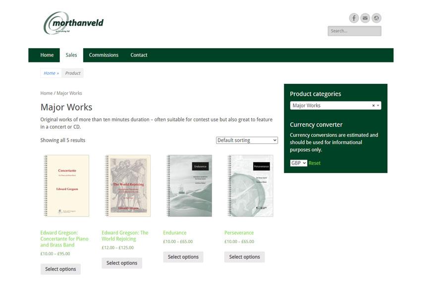 Morthanveld Publishing e-commerce shop page screenshot