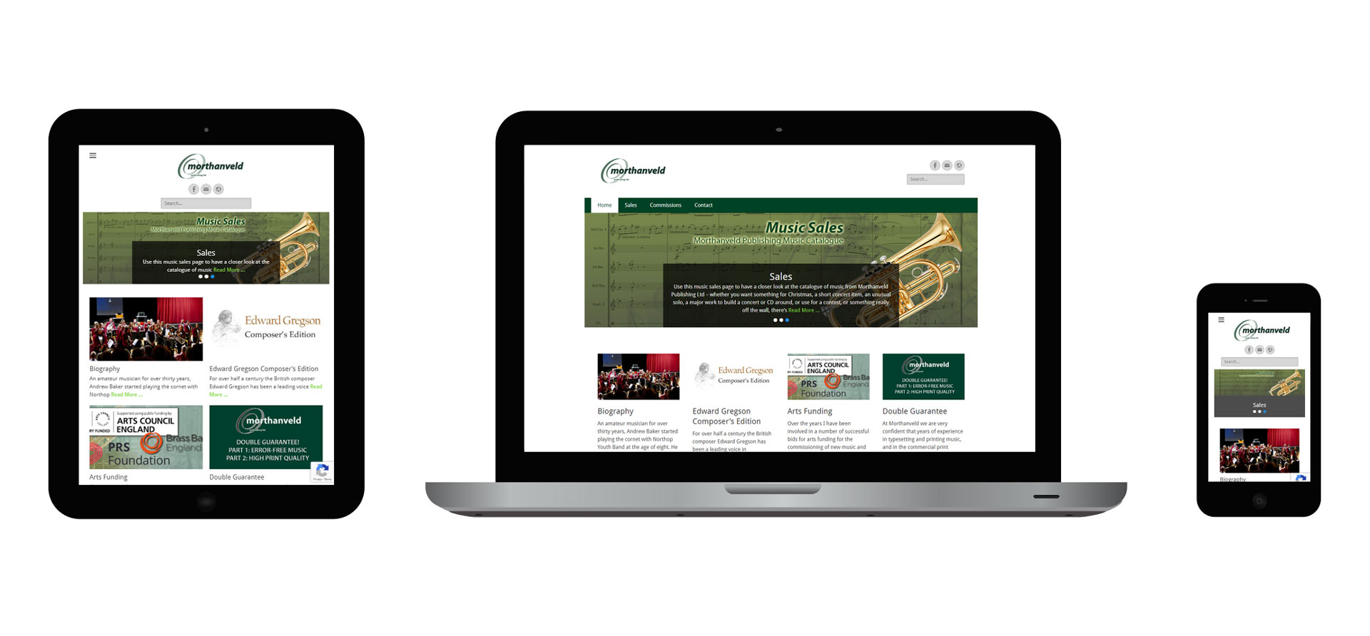 Images of the Morthanveld Publishing responsive website on different devices
