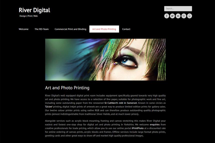 River Digital photo and art printing page screenshot