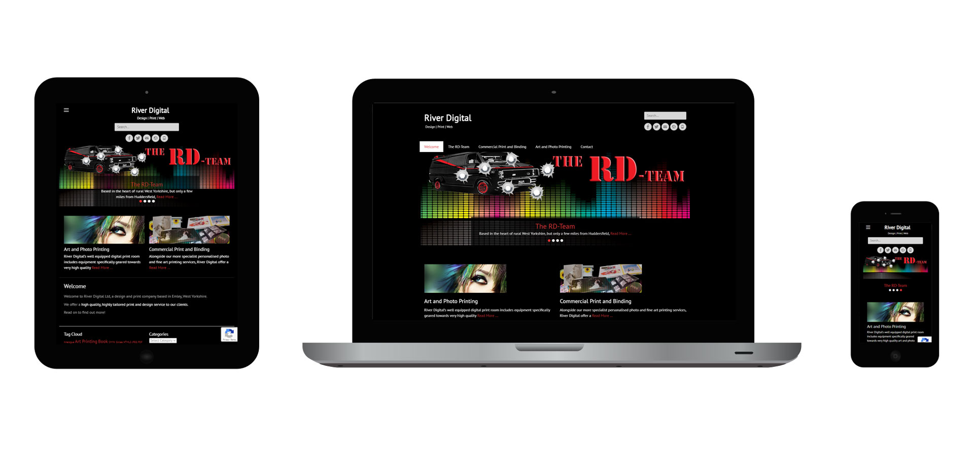 Images of the River Digital responsive website on different devices