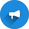 Megaphone icon representing a website's call to action