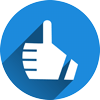 Thumbs up like icon representing social media integrations