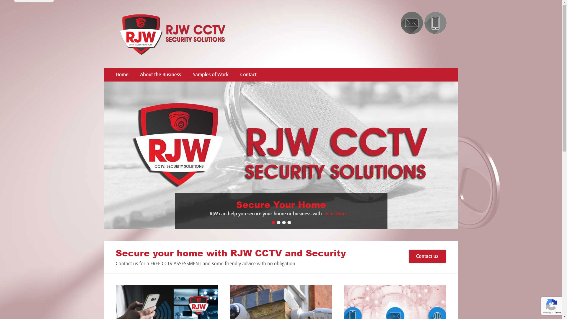 Screenshot of the RJW home page designed by Picture Engine