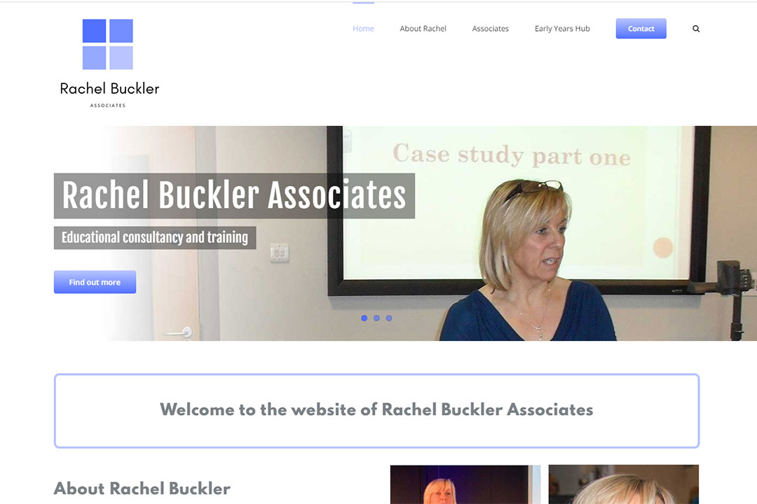 Screenshot of the Rachel Buckler Associates home page designed by Picture Engine