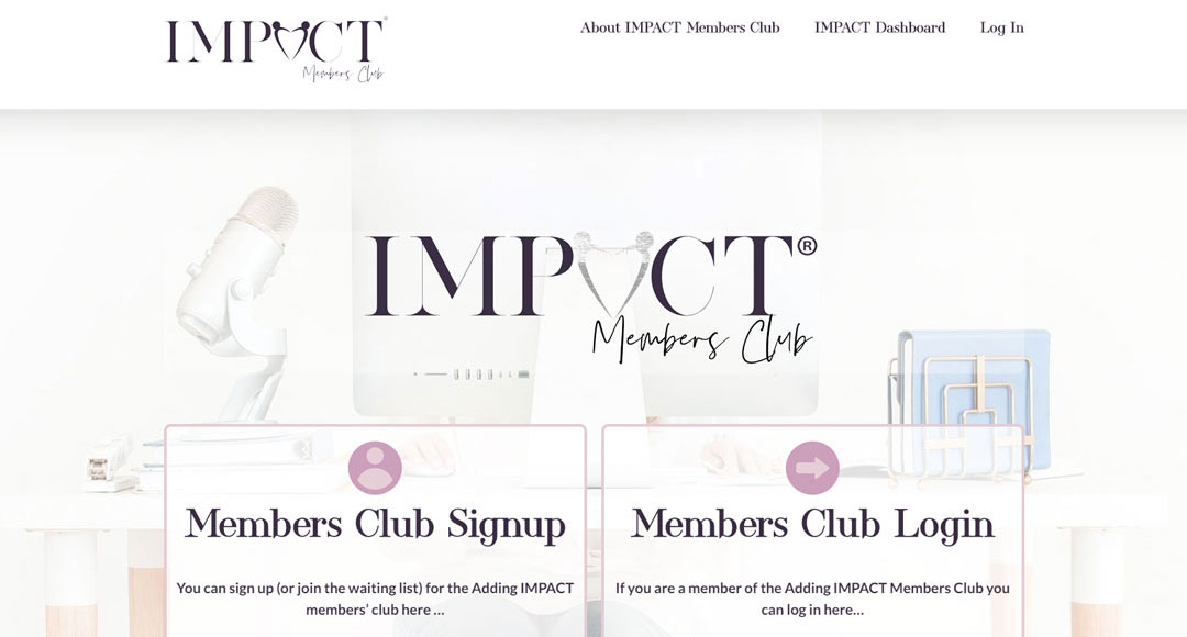 Image of the Adding Impact Members club home page