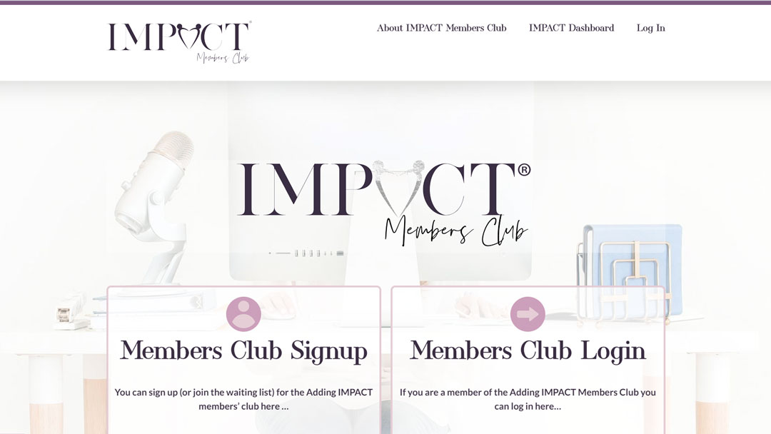 Image of the Adding IMPACT homepage