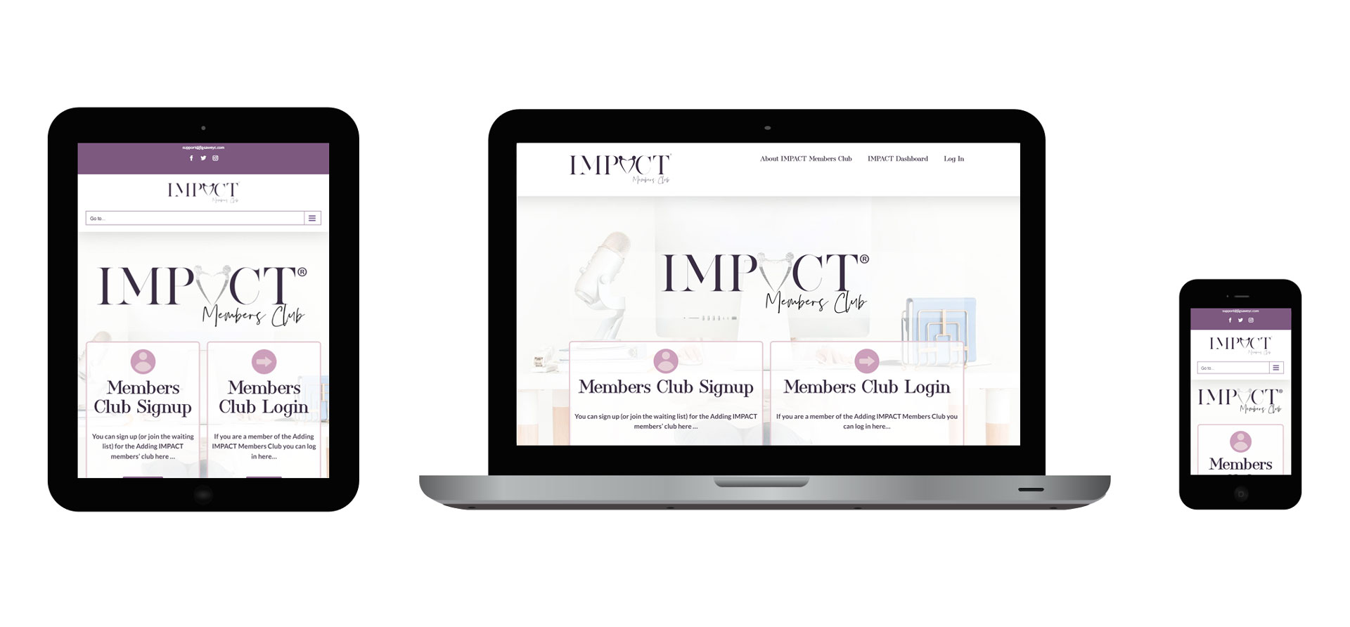 Images of Adding IMPACT responsive website on different devices