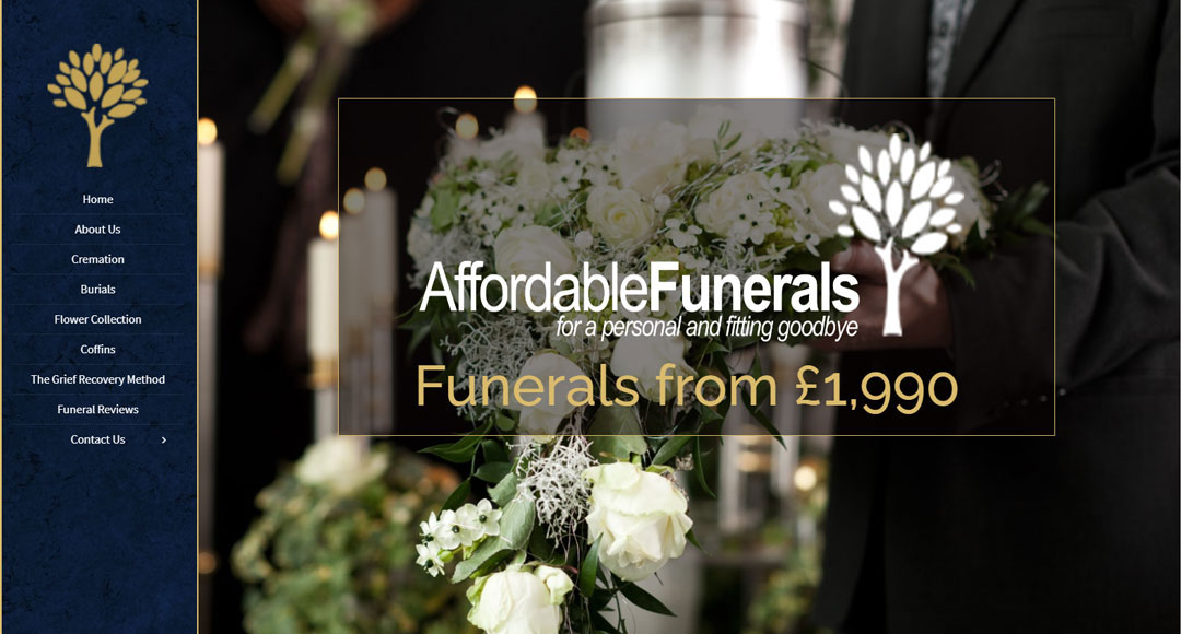 Image of the homepage for Affordable Funerals