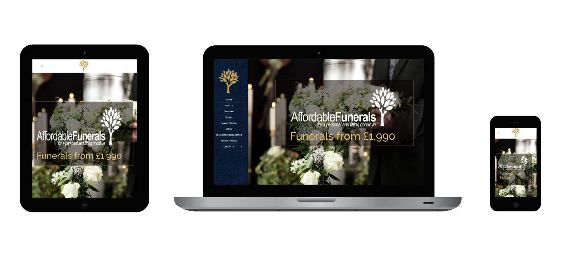 Images of Affordable Funerals responsive website on different devices