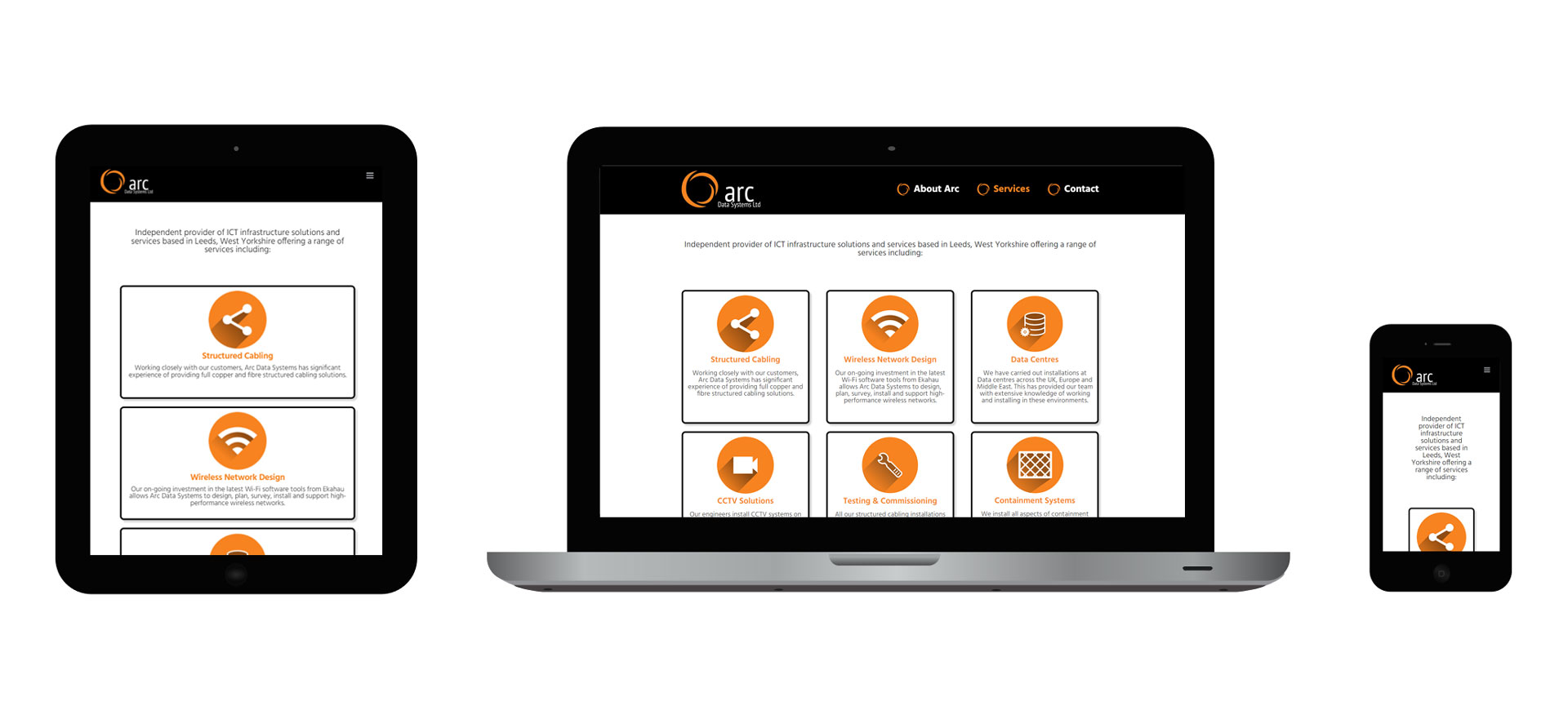 Images of Arc Data Systems responsive website on different devices