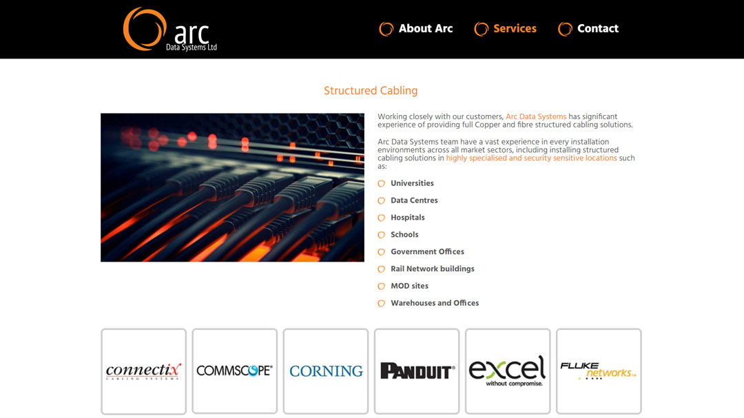 Image of the Arc Data Systems cabling page
