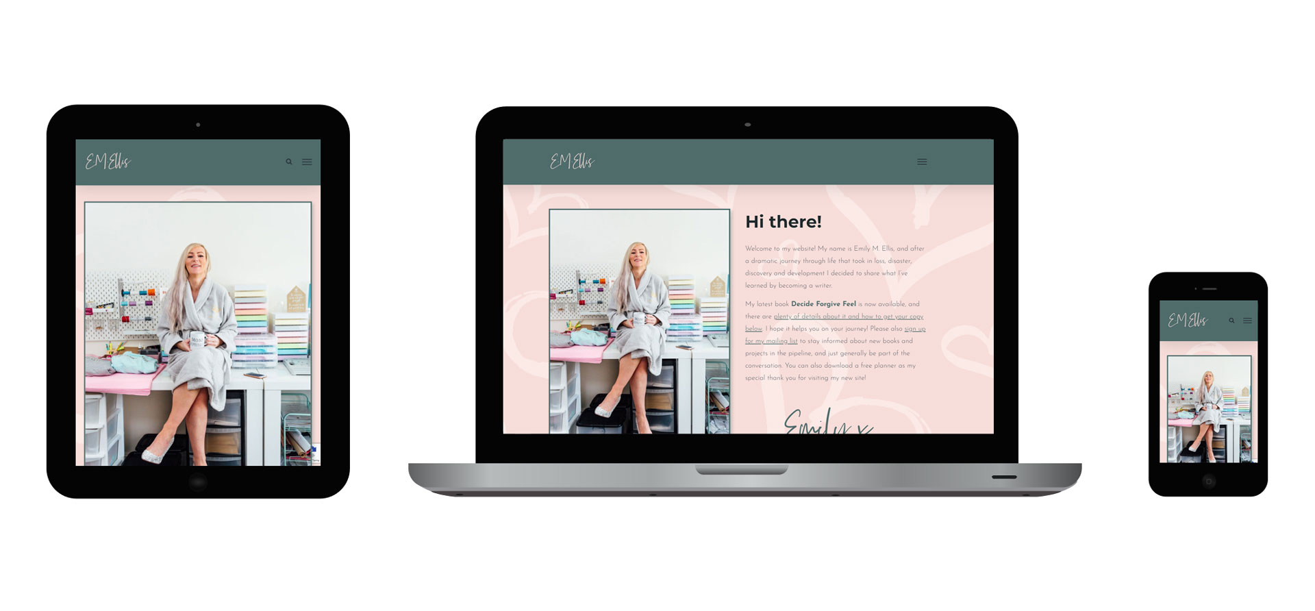 Images of E M Ellis responsive website on different devices