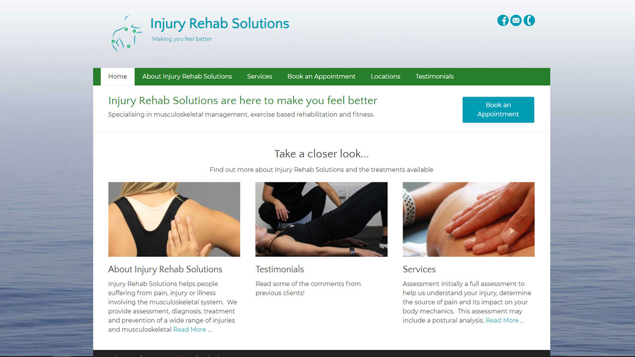 Image of the homepage for Injury Rehab Solutions