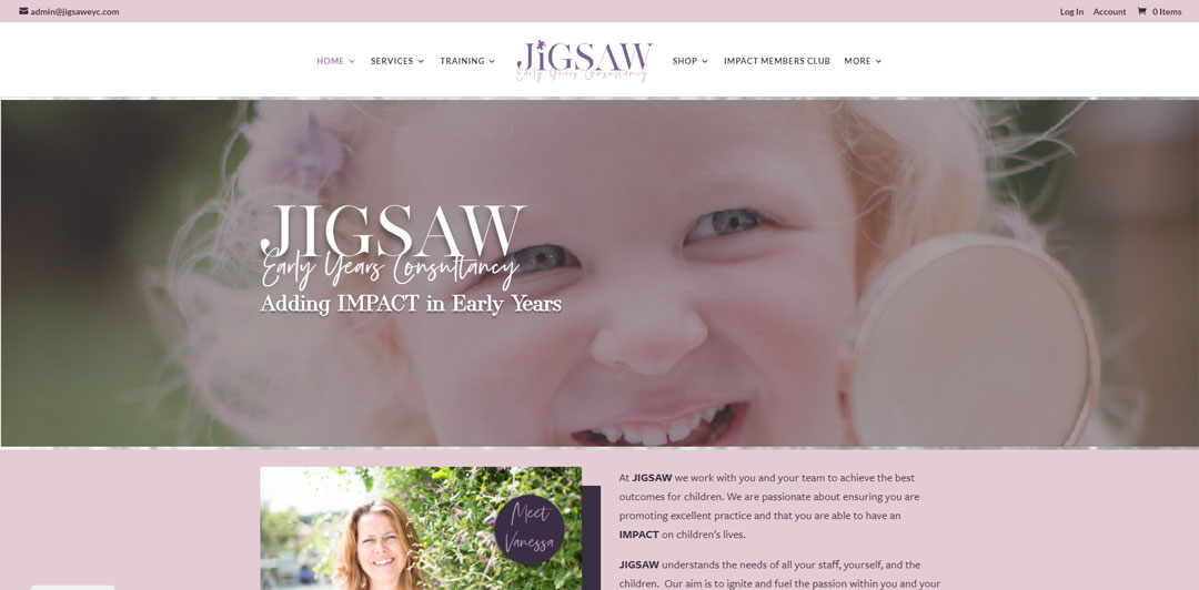 Image of the homepage for Jigsaw Early Years