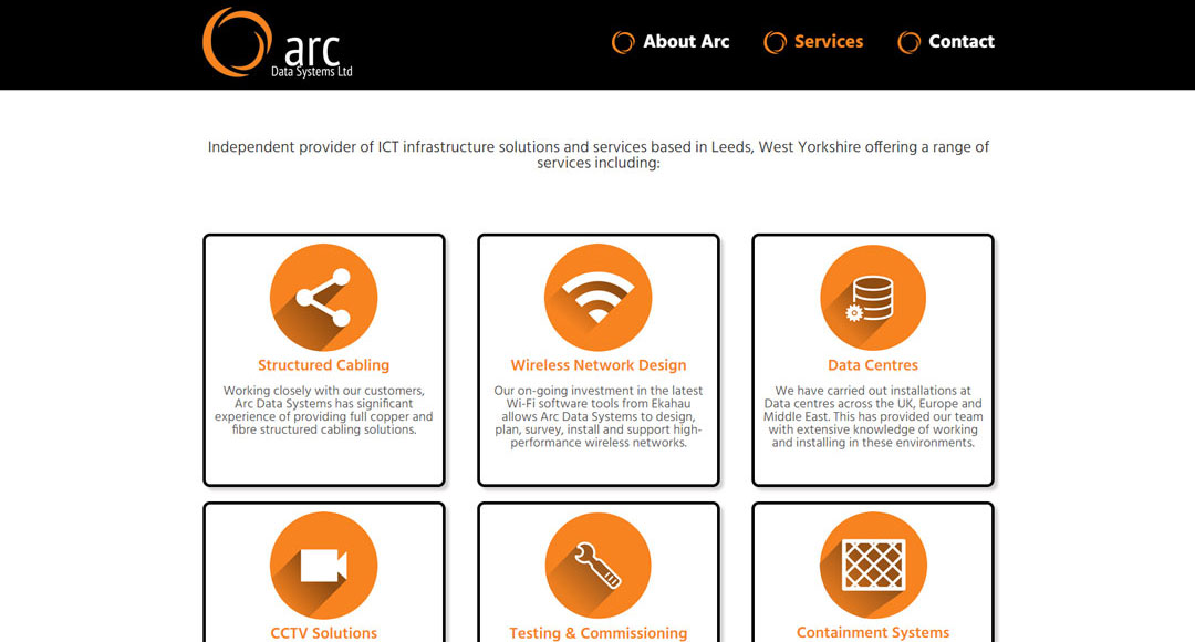 Image of Arc Data Systems website home page