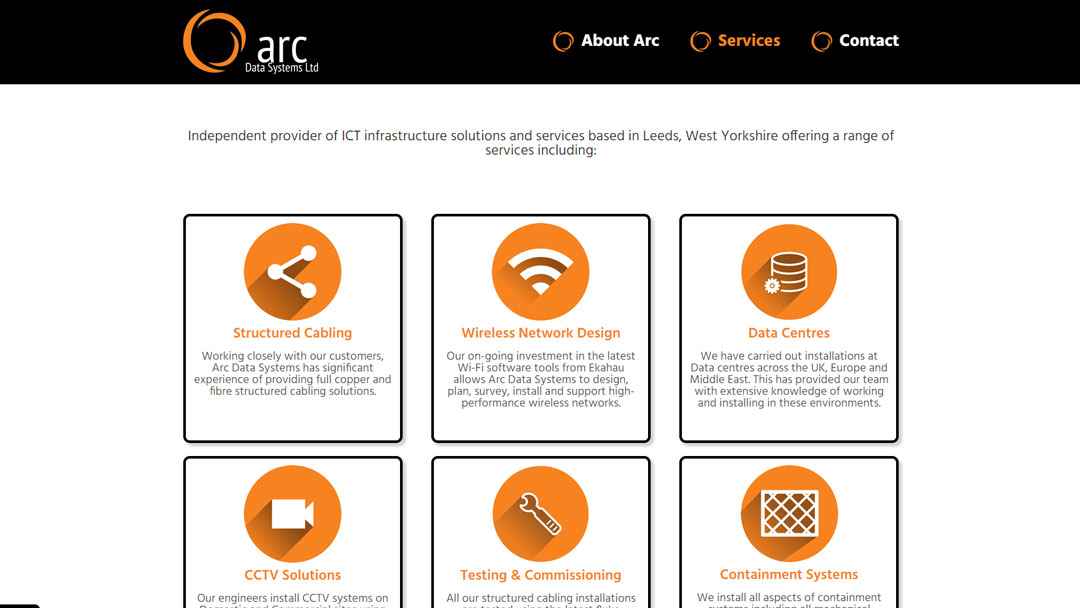 Image of the homepage for Arc Data Systems