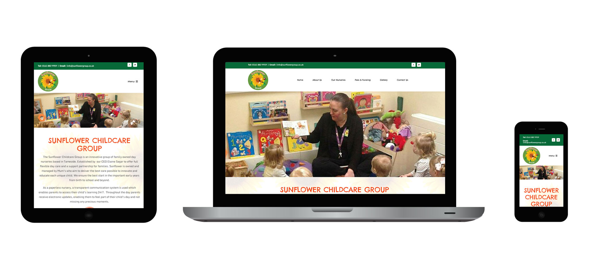 Images of Sunflower Childcare Group responsive website on different devices