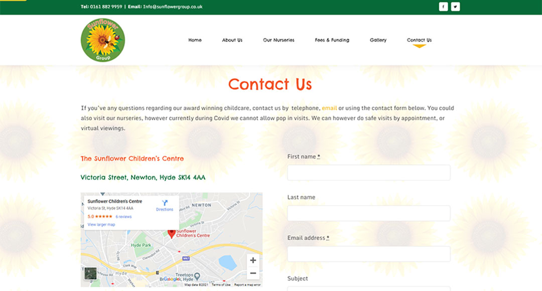 Image of Sunflower Childcare Group contact page