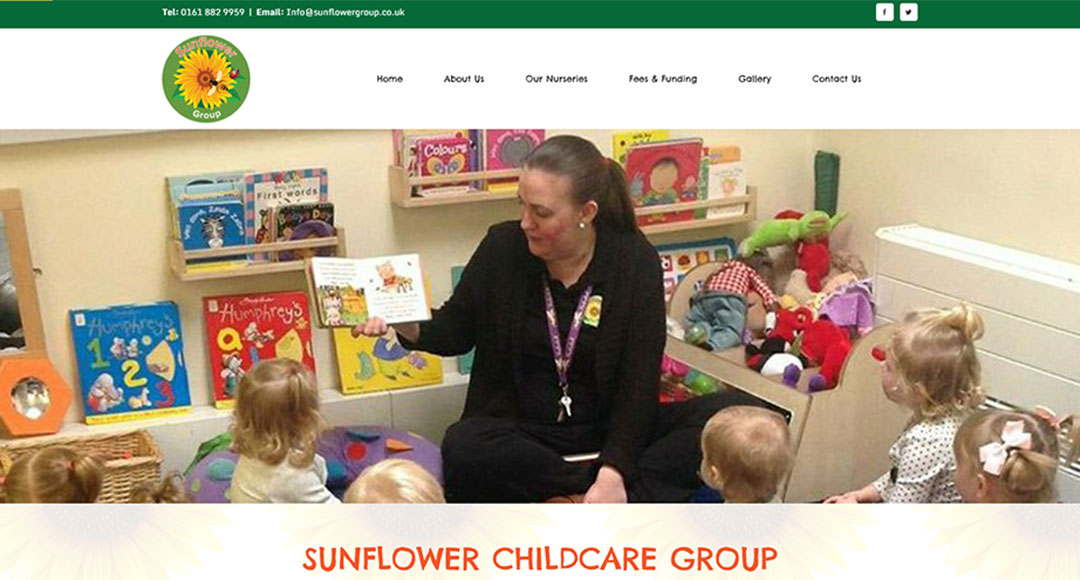 Image of the homepage for Sunflower Childcare Group
