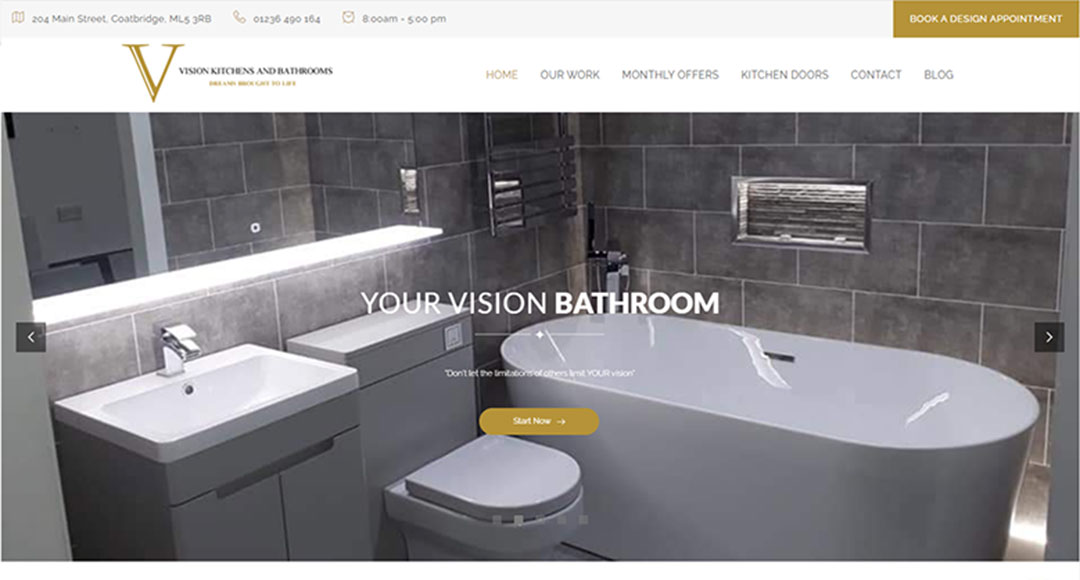 Image of the homepage for Vision Kitchens and Bathrooms