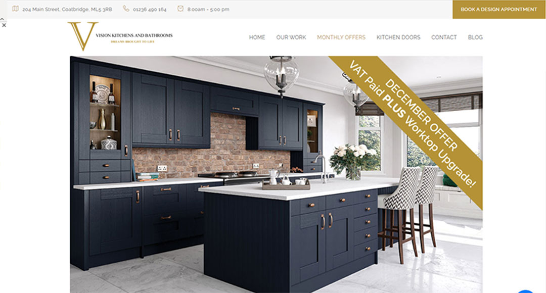 Image of Vision Kitchens and bathrooms monthly offer page